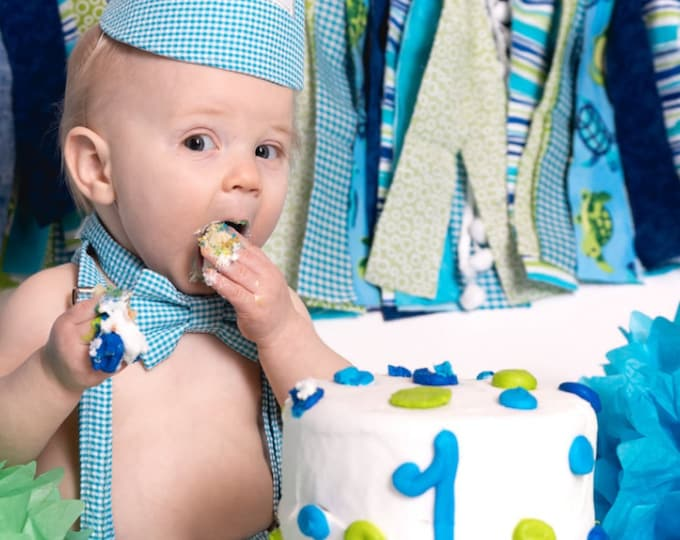 Boys Smash Cake Outfit, Birthday Boy Outfit,  Bow tie, Suspenders, Diaper Cover and Party Hat