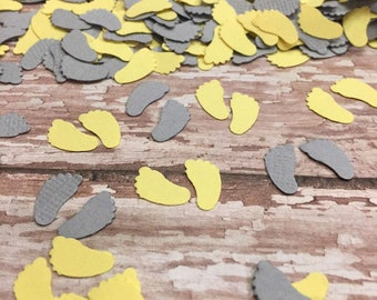 Gender Reveal Shower Baby Confetti  Yellow Grey Baby Feet Confetti  Gender Neutral Baby Shower Decor Table Confetti Sprinkle Scatter