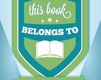 """Adhesive bookplate: Blue & Green Badge, 4""""x5,"""" pack of 10"""