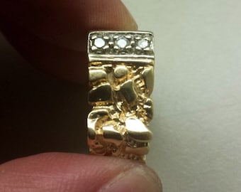 14K Yellow Gold Nugget Styled Men's Ring with Diamonds