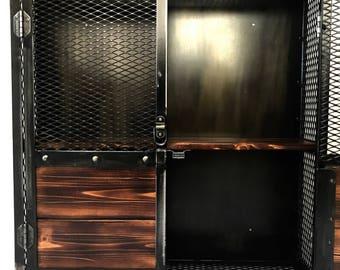 Industrial Wall Hanging Locking Liquor Cabinet