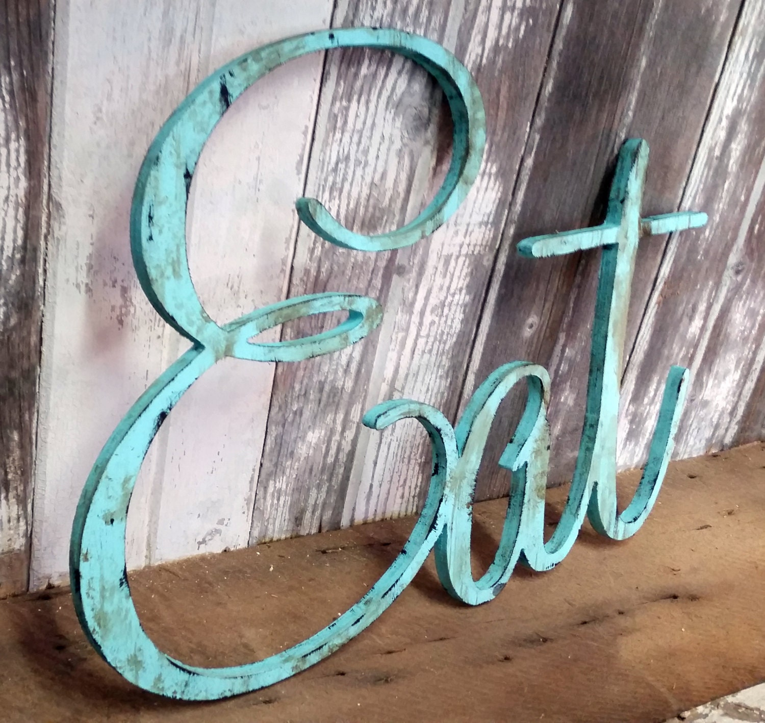 EAT sign shabby chic aqua wall hanging home decor photo prop