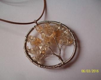 tree of life yellow Crystal pendant