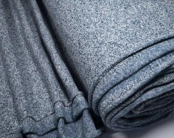 Knit Fleece fabric blue / white melange 0.54yd (0,5m) 003844