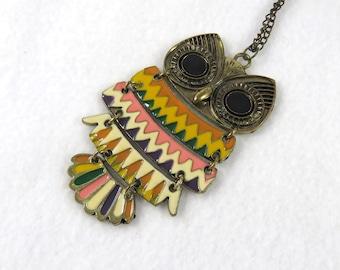 Retro Hippie 70s Vibe Vintage Owl Necklace, Enamel Zigzag Design