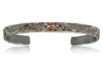 Fine Engraved Sterling Silver 2 Toned Hawaiian Plumeria & Scroll 8mm Cuff Bangle (BC003)