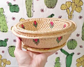 Rattan Nesting Basket Set & Trivet