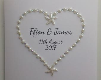 Wedding Congratulations Pearl & Starfish Heart Personalised Card