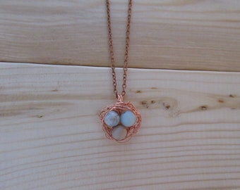 Wire Wrapped Birds Nest with Amazonite and Copper *Zero Waste*Plastic Free*Eco Friendly