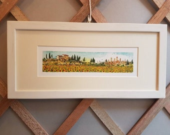 Tuscany sunflowers, tuscan landscape with frame