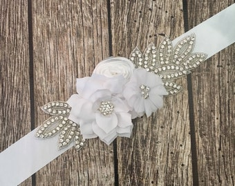 Bridal sash, white sash, all white sash, floral bridal sash, wedding sash, something blue, something new, wedding dress sash,