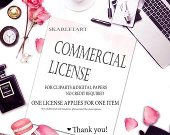 Extended license for Handpainted Watercolor Clipart - Add-On item, for a single artwork
