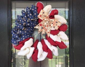 Burlap Wreath- red, white and blue burlap- American Flag wreath- patriotic wreath- Everyday Wreath
