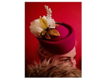 40's vintage style, reproduction hats, Pill Box Hat Pink Wool Air Hostess Shaped Base Bespoke Cream Silk Flowers  Hats Fascinators
