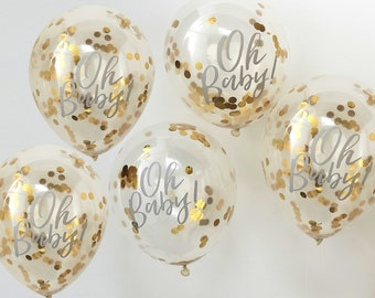 Oh Baby Gold Confetti Baby Shower Party Balloons//Gold Confetti Balloons//Baby Shower decorations//Party decorations//Stylish Party balloons