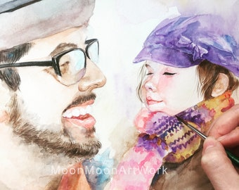 father's day gift, Custom Portrait, child portrait, couple portrait, Original watercolor painting, Custom family Portrait, Personalized gift