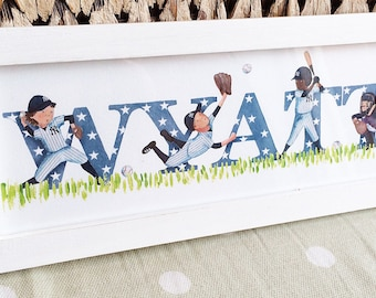 Baseball Door Plaque - Children's / Kids / name sign / Illustration (can be personalised to a favourite team)