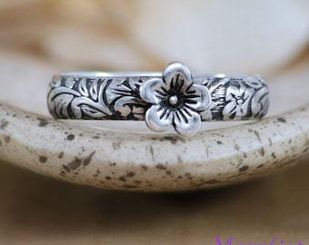 Flower Promise Ring - Sterling Silver Flower Ring - Cherry Blossom Ring - Botanical Band Ring - Floral Ring - Leaf Ring - Size 7 Ring RTS
