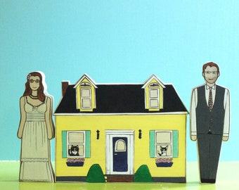 Custom Wedding Cake Topper Couple and Custom Home
