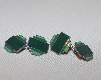 Cuff links Green Enamel
