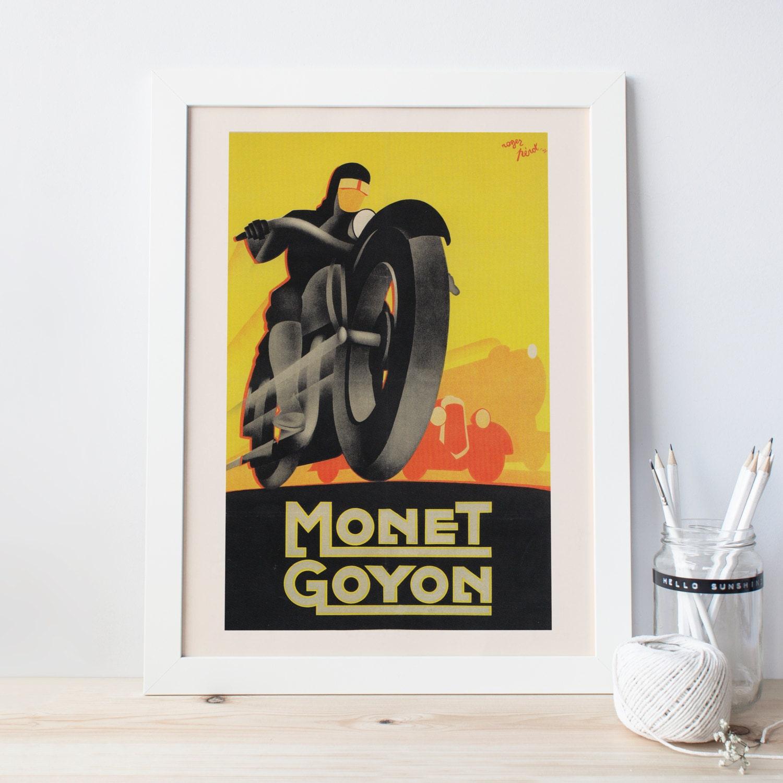 Art-Deco Poster Art-Deco Print Motorrad Poster Giclee Poster