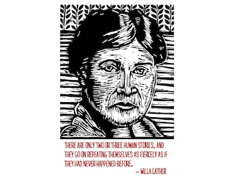 Willa Cather Postcard - Literary Gift - Postcards - Stationery - Paper - Author Quotes - Stocking Stuffer - Gift under 5 - Small Gift