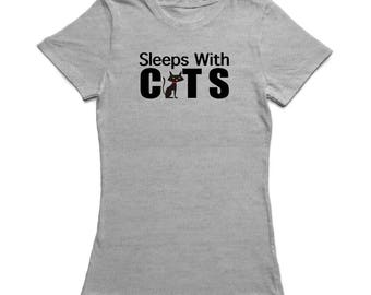 Sleep With Cats Quote, Cat Graphic As A Women's T-shirt