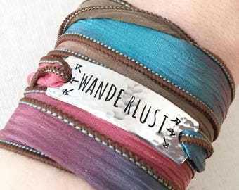 Wanderlust Jewelry, Traveler Gift, Travel Jewelry, Boho Jewelry, Boho Wrap Bracelet, Globetrotter Gift, Gift For Traveller, Wanderlust Gift