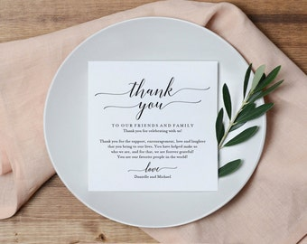Wedding Thank You Card, Thank You Printable, Wedding Table Thank You, Elegant Wedding, Script, Template, PDF Instant Download #BPB310_14
