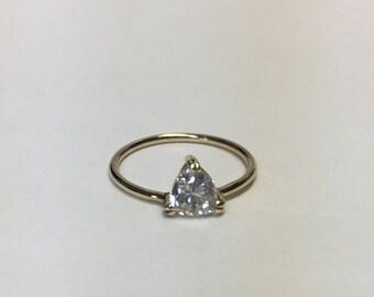 Minimalist 0.73 Carat Trillion Cut Diamond on Simple Band Ring - 14K Yellow Gold