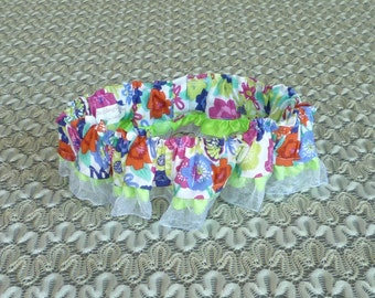 "Pink and Blue Floral Dog Scrunchie Collar with organza and ribbon ruffle - Size L: 16"" to 18"" neck"
