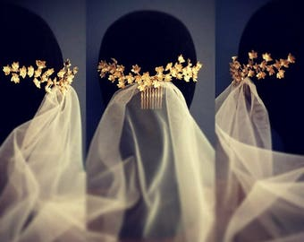 Natore - Bridal headpiece of gold leaves. Collection Spring/Summer 2018