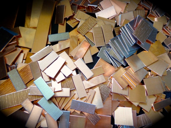 1 Pound RAW Copper or Jeweler's Brass Scrap - 18 Gauge Mostly Small Cuts some pieces with Protective PVC - Made in USA
