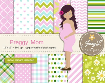Pregnant Digital papers and Clipart SET, Mom-to-be, Baby Shower, Pregnancy Announcement, Gender Reveal Digital scrapbooking