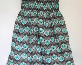 Girls Turquoise Dress, 5T dress, Toddler Dress, Shirred Dress, Girls Gray Dress, Gathered Dress, Girls Teal Dress, 4T Dress, Twirl Dress