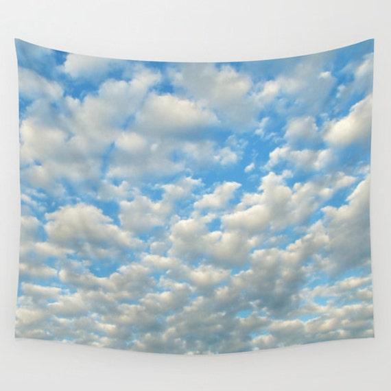 POPCORN CLOUDS - Wall Tapestry, modern, home decor, nature, fine art, photography, inspirational, dreamy, cloudy sky, office, dorm, nursery