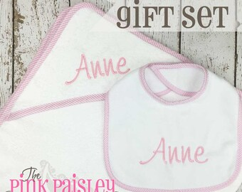 Personalized Baby Gift Set   Monogrammed Baby Towel   Hooded Baby Bath Towel   Baby Girl Gift   Baby Boy Gift