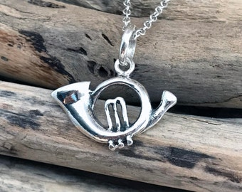 Sterling Silver Music Horn Pendant Necklace VAR031