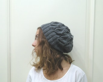 Hand Knitted DARK GRAY slouchy beanie ,leaf hat beanie