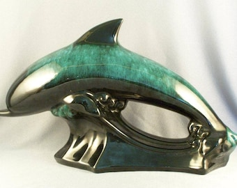 Blue Mountain Pottery Dolphin Sculpture // Great Find // Dolphin Lovers Delight // Signature Colors // Flowing Green