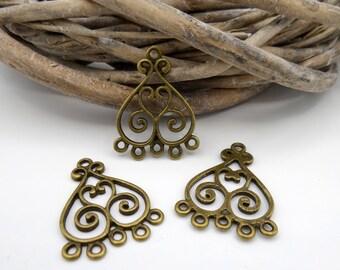 4 connectors/chandeliers metal heart bronze 6 holes
