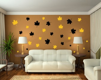 Set of 62 Decorative Maple Leaves decals