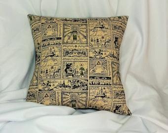 Legend of Zelda Nintendo fabric made into a cotton throw pillow cover for you. Video game decor made with Nintendo Zelda Wind Waker fabric.