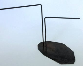 Contemporary Handmade Brass Two Stem Earring Stand