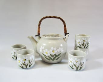 Vintage Teapot Ceramic Hand Decorated FLORAL DESIGN with Cups  OTAGIRI Original Japan