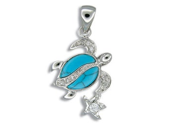 Sterling Silver Hawaiian Honu & Star Blue Turquoise Pendant with CZ with Rhodium Box Chain (P978)