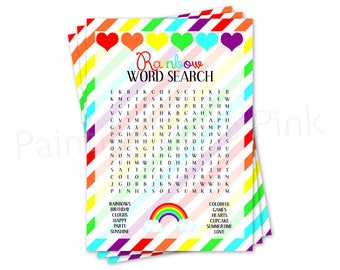 Word Search Game Printable | Birthday Party Game | Rainbows & Hearts | Instant Download