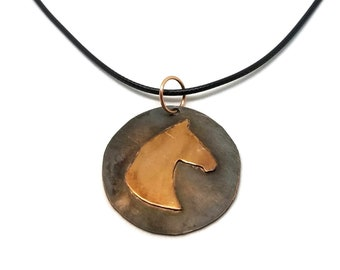 Copper Horse Silhouette Necklace or Keychain