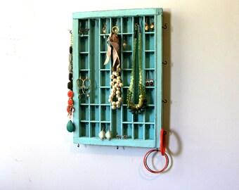 Aqua Distressed Jewelry display by Bluebirdheaven