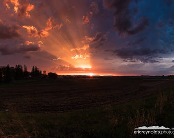 Sun Rays over the Farm - After Storm Sunset - Rochester Minnesota